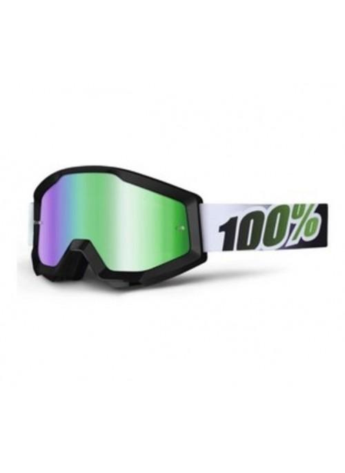 Маска кросс 100% STRATA Black/Lime - Mirror Green Lens